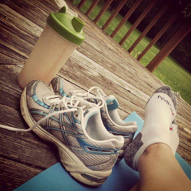 My back deck is amazeballs for stretching after a run. It's quiet and peaceful and just perfect. Til the kids wake up.